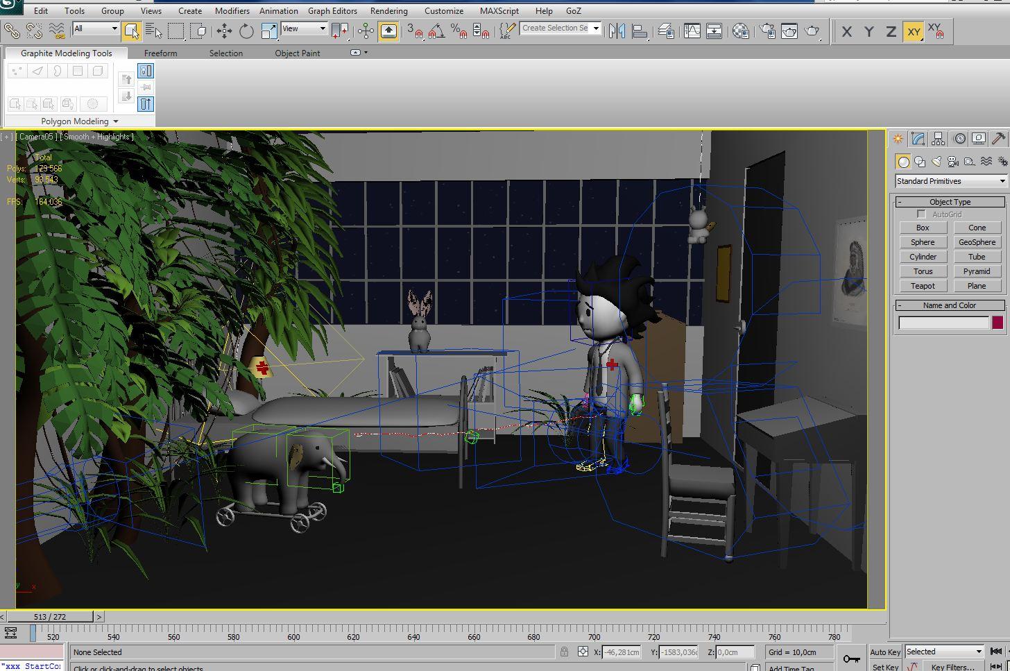 Une scène du court métrage dans 3DS Max.