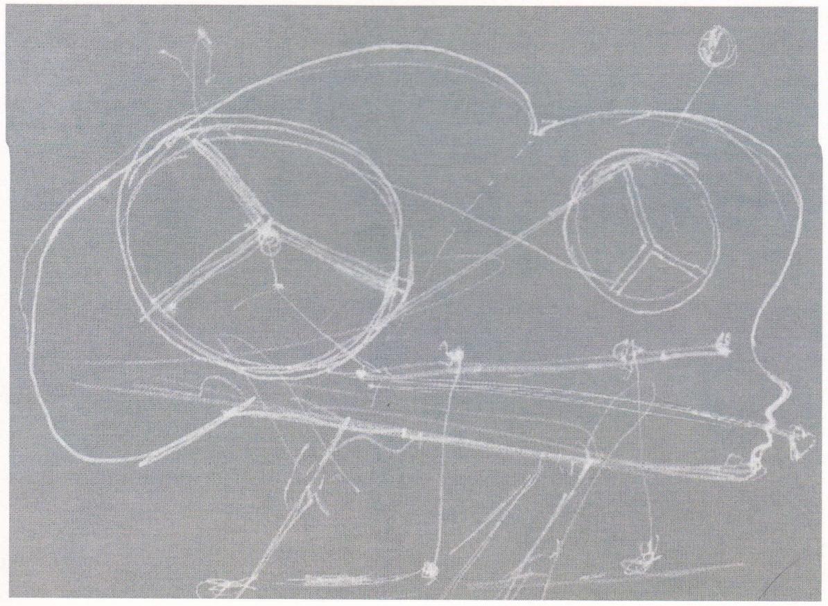 """Dessin de la sculpture """"Stelline"""", fait à Bale 2013 à l'atelier Honoré Berrel, à Bale. Assistance technique de Martine Bühler et Marcus Odermatt (MAB-AG)."""